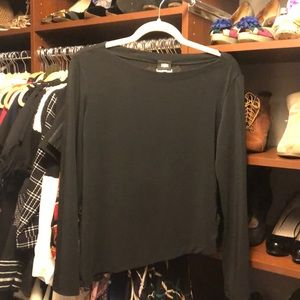 Versace Black Long Sleeve Slink Bottom Angle Top